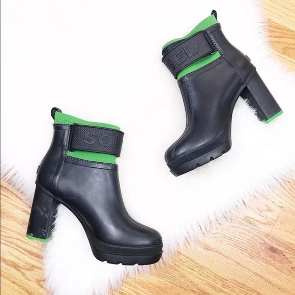 b8a9d0335ca Sorel Black Green Medina II Heel Rainboots